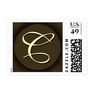 Brown monogram with Oval - white font - Initial C Stamps