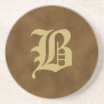 Brown Monogrammed Sandstone Coaster  - B
