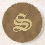 Brown Monogrammed Sandstone Coaster  - S