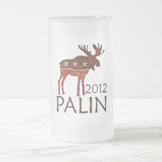 Brown Moose Frosted Glass Beer Mug