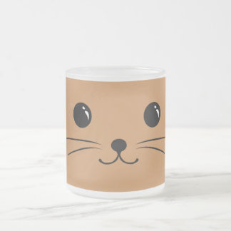 Brown Mouse Cute Animal Face Design Frosted Glass Coffee Mug