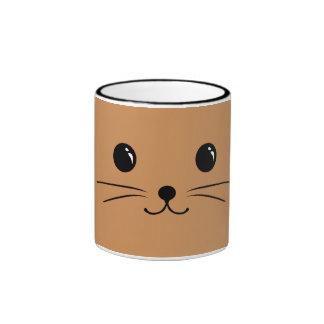 Brown Mouse Cute Animal Face Design Ringer Mug