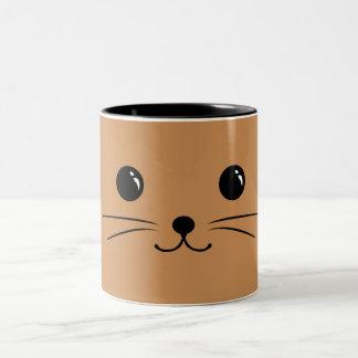 Brown Mouse Cute Animal Face Design Two-Tone Coffee Mug