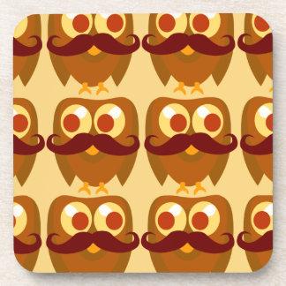 Brown Moustache Owl Pattern Beverage Coaster