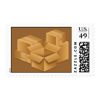 BROWN MOVING BOXES RANDOMA ABSTRACT BACKGROUNDS POSTAGE STAMPS