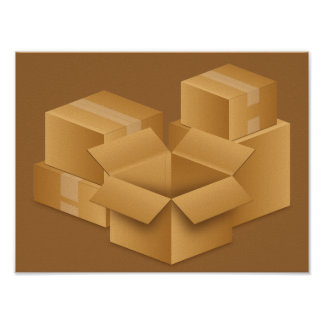 BROWN MOVING BOXES RANDOMA ABSTRACT BACKGROUNDS POSTERS