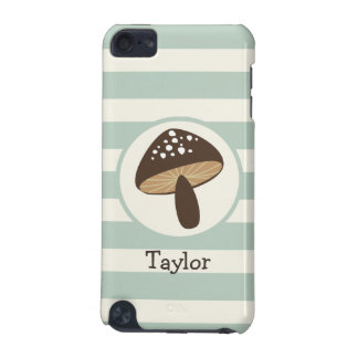 Brown Mushroom on Light Sage Green Stripes iPod Touch 5G Covers