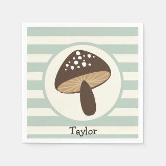 Brown Mushroom on Light Sage Green Stripes Napkin