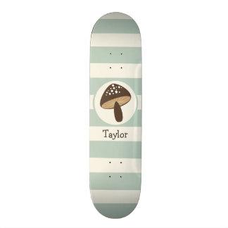 Brown Mushroom on Light Sage Green Stripes Skateboard Decks