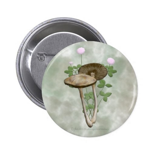 Brown Mushrooms with pink clover Buttons