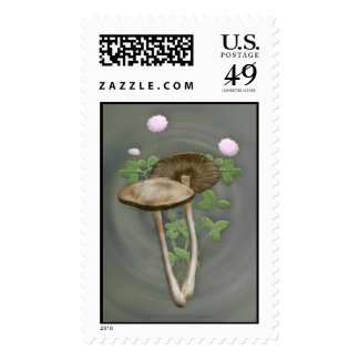 Brown Mushrooms with pink clover Stamps