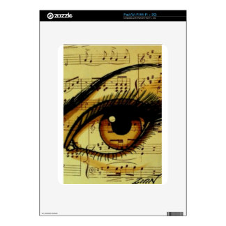 Brown Music Eye Decals For iPad