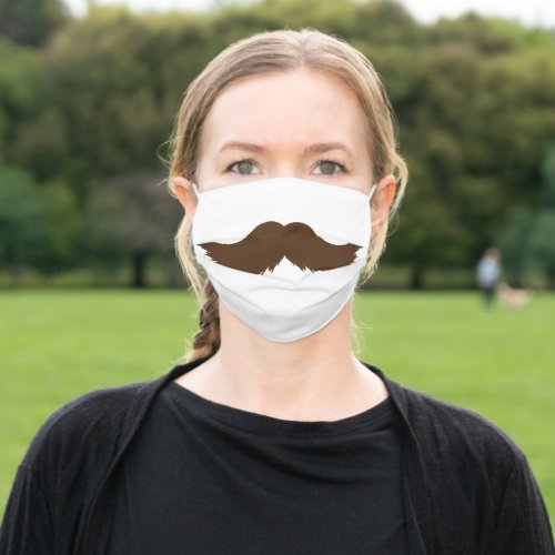 Brown Mustache Funny Masculine Cloth Face Mask