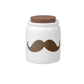 Brown mustache novelty candy jar