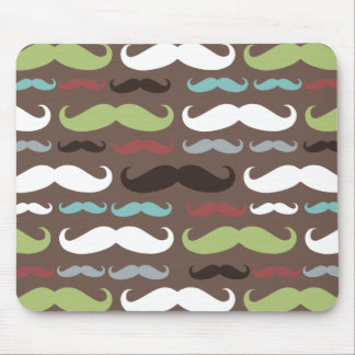 Brown Mustache Pattern Mouse Pad