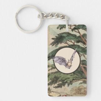 Brown Myotis Bat Natural Habitat Illustration Keychain