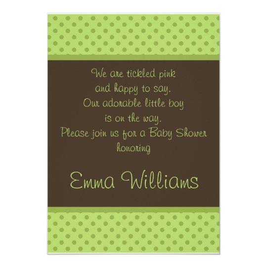 Brown n Green Polka Dot Baby Shower Invitation