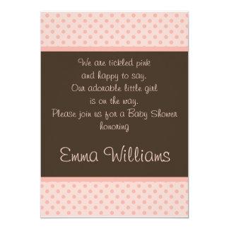 Brown n Pink Polka Dot Baby Shower Invitation