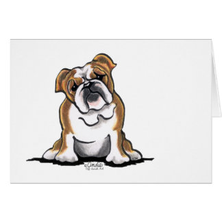 Brown n White English Bulldog Sit Pretty Card