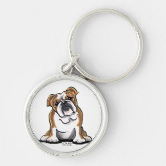 Brown n White English Bulldog Sit Pretty Keychain