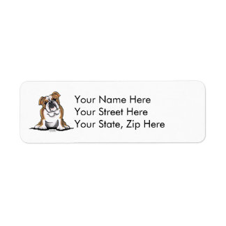 Brown n White English Bulldog Sit Pretty Label