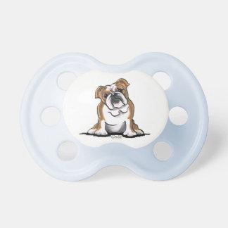 Brown n White English Bulldog Sit Pretty Pacifiers