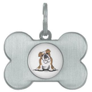 Brown n White English Bulldog Sit Pretty Pet ID Tag