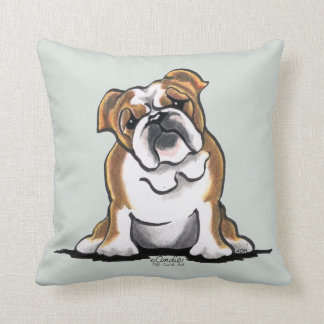 Brown n White English Bulldog Sit Pretty Throw Pillow
