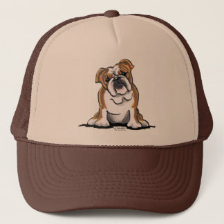 Brown n White English Bulldog Sit Pretty Trucker Hat