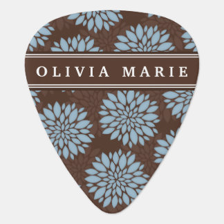 Brown Name Baby Blue Flower Blossom Pattern Guitar Pick