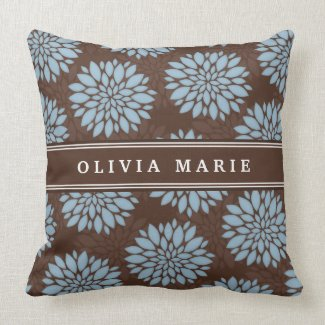 Brown Name Baby Blue Flower Blossom Pattern Throw Pillow