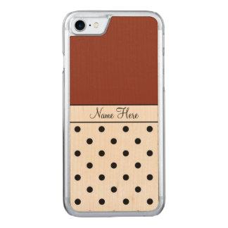 Brown Name, Black Polka Dots Carved iPhone 8/7 Case