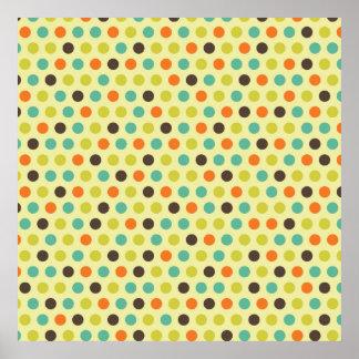 Brown, naranja, trullo, y lunares de color verde a póster