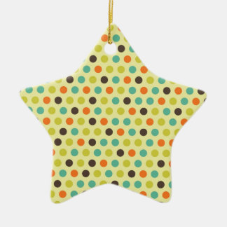 Brown, naranja, trullo, y lunares de color verde adorno de cerámica en forma de estrella