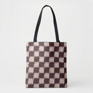 Brown Natural Chessboard Pattern Squares Crochet Tote Bag