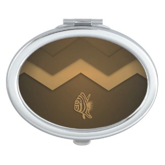 Brown Nautical Series Fish Compact Compact Mirrors