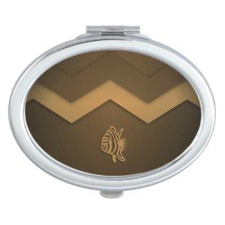 Brown Nautical Series Fish Compact Compact Mirrors