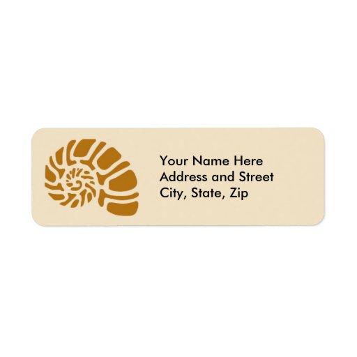Brown Nautilus Custom Return Address Label