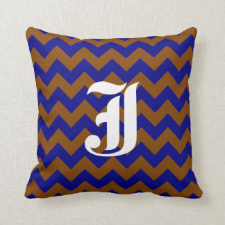Brown Navy Zigzag Pattern with Monogram Pillows