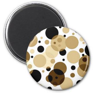 Brown negro y Polkadots blanco Imán Redondo 5 Cm