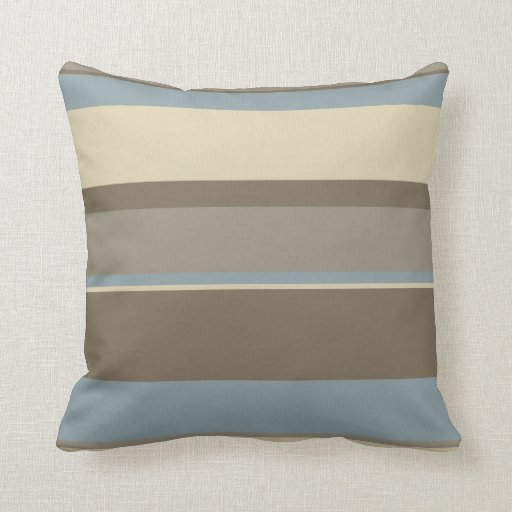 Brown neutral/rayas azules almohadas
