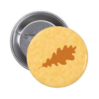 Brown Oak Leaf Design. 2 Inch Round Button