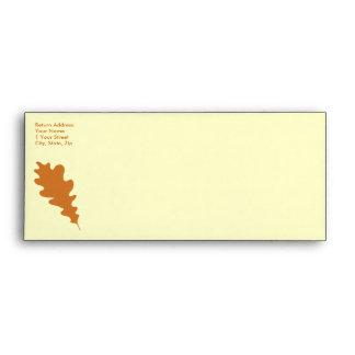 Brown Oak Leaf Design. Envelope