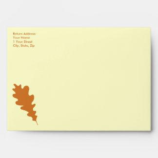 Brown Oak Leaf Design. Envelopes