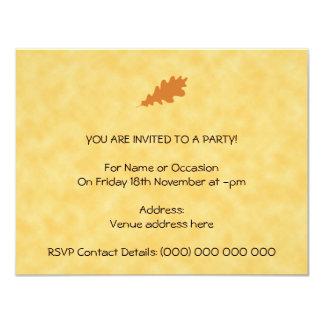 Brown Oak Leaf Design. Invite