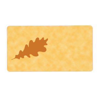 Brown Oak Leaf Design. Shipping Label