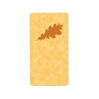 Brown Oak Leaf Design. Address Label