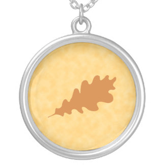 Brown Oak Leaf Design. Round Pendant Necklace