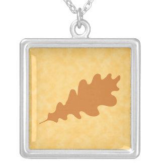 Brown Oak Leaf Design. Square Pendant Necklace