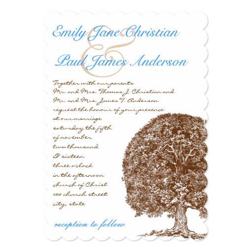 Brown Oak Tree Aqua Blue Font Wedding Invitation